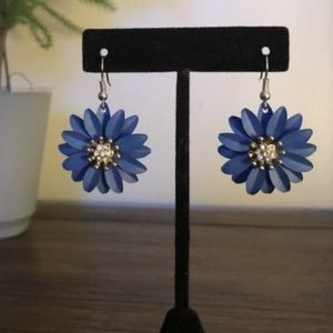 Dark Blue Flower Dangle Earrings